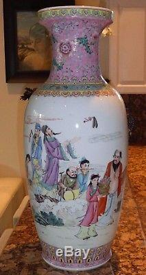 EXCEPTIONAL CHINESE FAMILLE ROSE VASE WITH CHARACTERS AND A SIGNED POEM 24 High