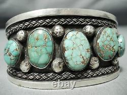 Early High Grade Carico Lake Turquoise Vintage Navajo Sterling Silver Bracelet
