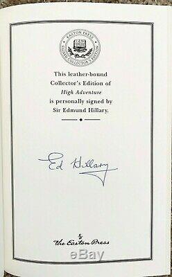 Easton Press. Sir Edmund Hillary, High Adventure. Signed by Hillary. COA