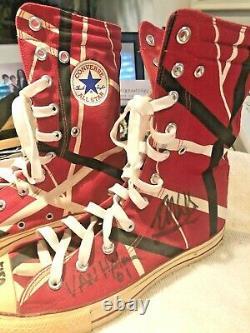Eddie Van Halen's personal custom designed high tops SIGNED (4x) one of a kind