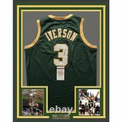 FRAMED Autographed/Signed ALLEN IVERSON 33x42 Bethel High School Jersey JSA COA