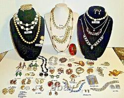 Fabulous 50 High End Vintage Jewelry Lot-colorful Rhinestones-so Many Signed