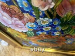 Faure Limoges Poppies & Bellflowers, 3/8 High Relief Enamel On Convex Copper