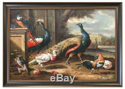 Framed High Quality Oil Painting Of Different Birds And Monkey At Farm 24X28