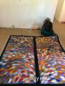 GLORIA PETYARRE, Highly Collectable Aboriginal Art, Inc COA, Pics, Huge double