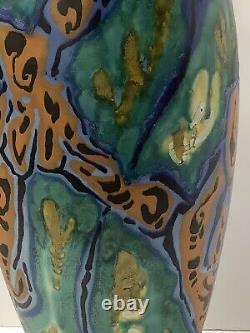 Gouda Pottery Vase. Signed Breetvelt Zuid Holland. 16 1/2 High Modernist Design