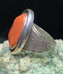 HIGH QUALITY! Native American Sterling & Mediterranean Red Coral SIGNED Ring