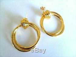 HIGH QUALITY Signed CELINE 24K Gold Plate Double Hoop Earrings