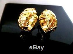 HIGH QUALITY Signed CELINE 24K Gold Plate Quilted Hoop Designer Earrings 2cm