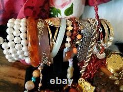 HUGE LBS Vintage HIGH END JEWELRY LOTSigned Trifari Emmons + Glass Rhinestone