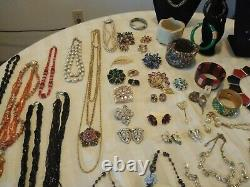 High End Signed Costume Jewelry 54 Pcs Vintage Estate Lot Some/NWT YSL Trifari