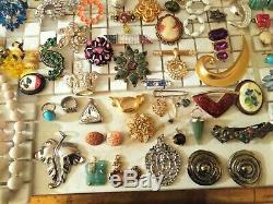 High End Vintage Costume Ladies Rhinestone Crystal Jewelry Lot Signed 123pc