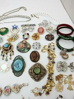 High End Vintage Costume Ladies Rhinestone Crystal Jewelry Lot Signed 50 Pc