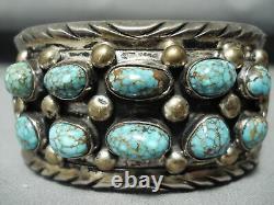 High Grade Vintage Navajo #8 Turquoise Sterling Silver Bracelet
