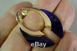 High Quality 18K Yellow Gold & Purple Sugilite Post Earrings, Signed, 6.1 grams