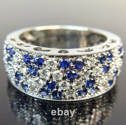 High Quality 18k Ceylon Sapphire & Diamond White Gold Ring Band Signed ED Sz 6.5