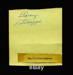 High Quality 1938 Yankees Lou Gehrig & Joe Dimaggio Autographed Album Page Jsa