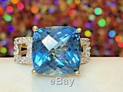 High Quality Vintage Estate 14k Gold Blue Topaz Diamond Ring Cushion Cut Signed