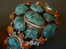 High grade turquiose mtn. + coral sterling silver bracelet signed