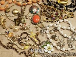Huge ALL Vintage High End Jewelry Lot Brooch Mixed Old Costume some Signed Lbs