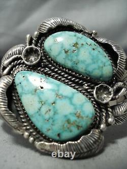 Huge High Grade Vintage Navajo Carico Lake Turquoise Sterling Silver Bracelet