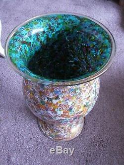 Huge Murano Very High Quality Art Glass Millefiori Vase. Signed by Poggi