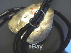 Huge high grade turquoise sterling silver bolo tie 3 3/8 x 3 238 grams! Signed