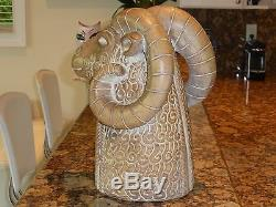 Impressive Mid-Century Modern Signed RAM Head Pottery Sculpture 13.5 High