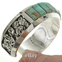 Inlaid Men's Cuff Heavy Gauge Sterling Silver High Grade Kingman Turquoise