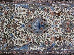 Ivory Wool & Silk on Silk High End Signed Persian lsfahan Handmade Rug 5x8 Rug