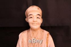 Japanese Hand Carved Okimono Meiji period Signed Potato Seller 28cms 11 High