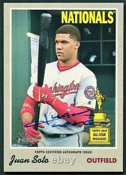 Juan Soto 2019 Topps Heritage High Number Real One Blue Ink Auto Autograph Ssp