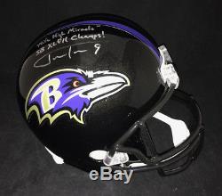 Justin Tucker Autographed Baltimore Ravens Mile High Fs Full Size Helmet Jsa Coa
