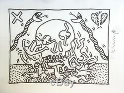 Keith Haring Art Skull. High Quality Lithograph