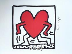 Keith Haring Running Heart. Signed, High Quality Color Lithograph