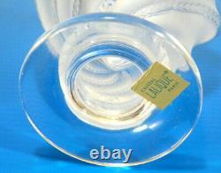 LALIQUE 6 High Frosted VASE Paper Label & ETCH SIGNED