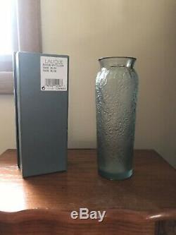 LALIQUE Crystal Blossom Bud Bougainviller Vase Blue Tint 7 High