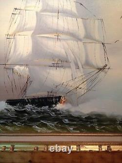 LARGE Vintage 29 BY 25 OIL PAINTING ON CANVAS SAILING SHIP ON THE HIGH SEAS