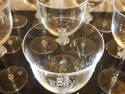 Lalique Roxane Set of 12 Wine Goblets 6 7/8 High