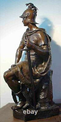 Large 34 High Antique Bronze Sculpture Signed Paul Dubois Military Courage