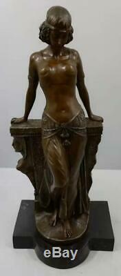 Large Art Deco Bronze Lady Leaning on Wall Signed Moreau 57cm High