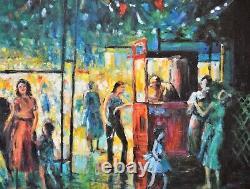 Large High Quality Original Oil Painting Festival Street Scene Framed Signed