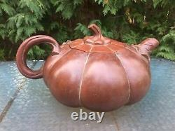 Large Highly Detailed Chinese Yixing Purple Clay Teapot Signed JIAN FANG GAO