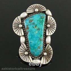 Large Native American Navajo Sterling Silver & High Grade Turquoise Ring