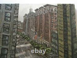 Large Robert Carrere Chunky Painting Modernist High Building View City New York