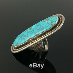 Large Zuni Handmade Silver & High Grade Turquoise Ring Frank Vacit