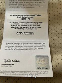 LeBron James Upper Deck UDA Autographed Yellow High School Irish Jersey
