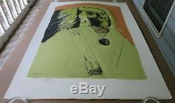 Leonard Baskin High Bear Standing Rock Sioux Color Lithograph Trial Proof Signed