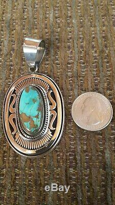 Leonard Nez Navajo -High Grade Turquoise Pendant Signed