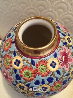 Longwy Art Deco Rare Millefleur Signed Boule Vase. 9high, 14.25 diameter
